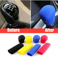 2pcs Car Silicone Nonslip Gear Knob Head Shift Collar Handbrake Cover Grip Safe