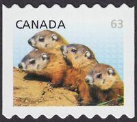 WOODCHUCKS = COIL stamp = 63c - TRANSITIONAL DENOMINATION Canada 2013, #2692