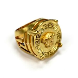 NWT $375 Versace Large Matte Gold Medusa Logo Ring 19IT Men's Women's AUTHENTIC