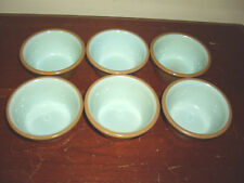 Set Of 6 Taylor Smith Taylor Aqua & Brown Chateau Buffet Custard Cups / Bowl