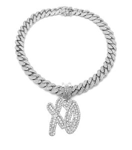 XO WEEKEND NAV BELLY PENDANT CUBAN LINK CHAIN NECKLACE SILVER RAPPER ICY BLING