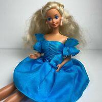 Vintage Barbie Doll Blue Dress Platinum Blonde Hair Mattel Fashion Doll
