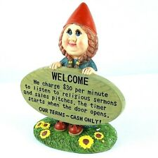 """Lawn and Garden Gnome Statue Figurine. 8 1/2"""" with Funny Welcome Sign Home Decor"""