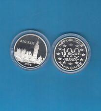 Monuments d'Europe 15 écus/100 Francs en argent 1994 Big Ben Angleterre