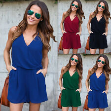 Womens Sleeveless Bodycon Playsuits Party Jumpsuit Romper Trousers Blue XL LZF06
