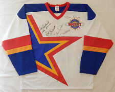 MAURICE RICHARD MIKITA LINDSAY BOWER GILBERT 5 AUTOGRAPH ZELLERS MASTERS JERSEY