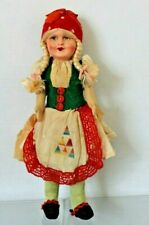 """Antique Austrian 12"""" Girl Doll Straw Body Painted Mask Composite Face"""