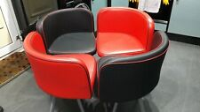 2 RED AND 2 BLACK FAUX LEATHER DINING CHAIRS