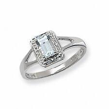 Aquamarine Ring Diamond White Gold Engagement Large size R - Z Appraisal