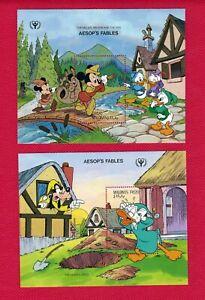 ZAYIX - 1990 Maldives Islands 1474-75 MNH - Disney Aesop Fables souvenir sheets