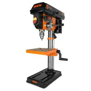 10 in. drill press with laser | wen cast iron guide base bench power chuck speed