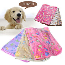 Pet Mat Paw Print Cat Winter Dog Puppy Fleece Warm Soft Blanket Bed Cushion Pad