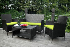 4PCS Outdoor Rattan Wicker Patio Set Garden Lawn Rattan Sofa Furniture Cushioned