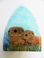 Sea Otter w Baby Fused Art Glass Night Light Ecuador Us Plug
