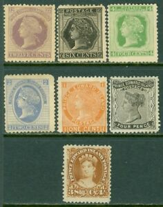 EDW1949SELL : PRINCE EDWARD 1868-72 Scott #9-12, 14-16 Mint No Gum. Catalog $167