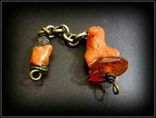 Antique Natural Coral, faceted Black Coral, Natural Faceted Amber Handmade Chain