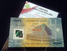 50000 Livres 2014 Polymer SLEEVE 50 years BDL Anniversary UNC Lebanon