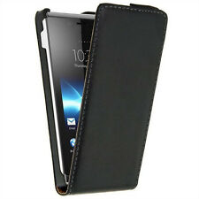 New Black Leather Flip Skin Case Cover For Sony Xperia J St26i Excellent