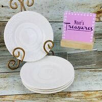 Crate & Barrel ASPEN Solid White Very Smooth Round Rim Lunch Salad Plates Set 3