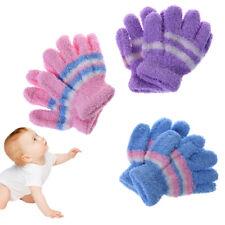 1 Pair Baby Gloves Soft Warm Winter Full Finger Kids Boys Girls Colorful Stripe