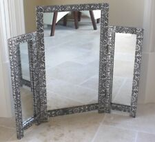 Blackened Silver Embossed Asian Style 3 Part Metal Dressing Table Mirror NEW