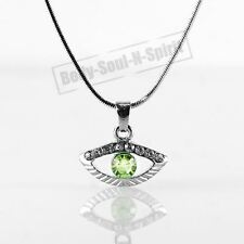 Collar VERDE del ojo malvado cristal Amuleto Colgante Kabbalah Joyería Judaica
