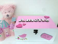 Personalised baby girl children's wooden memory box keepsake Box New Baby Gift