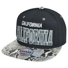 California Cali Light Snake Skin Faux Black Silver Snap Back Flat Bill Hat Cap