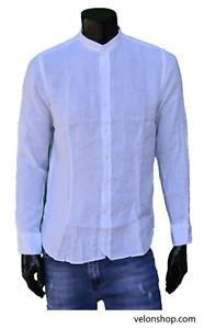 Camicia Da Uomo 100% Lino Estivo Manica Lunga Collo Coreana Vari Colori VELON