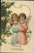 Christmas - Little Girl Angels in Pink & Blue c1910 Postcard rpx