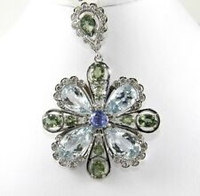 Pear Aquamarine, Green Sapphire & Diamond Cluster Pendant 14K White Gold 25.02Ct
