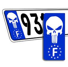 2 x Vinyle Plaque D'Immatriculation Adhésif Punisher Européen Badge France QV 39