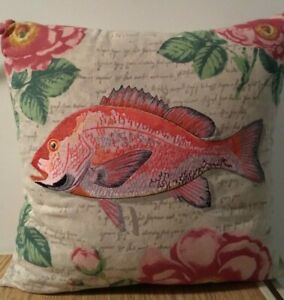 """Pottery Barn 16"""" Decorative Pillow ~ Embroidered Fish Roses Marine Sea   NWOT"""