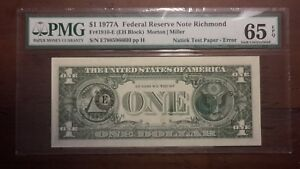 Natick Test Paper-Error $1Dollar 1977A Fr# 1910-E (EH Block) 65 GEM UNC. EPQ