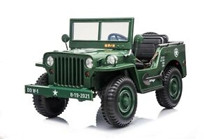 Kids Ride on Willy Jeep 4x4 toy Car 3 Seater Military green