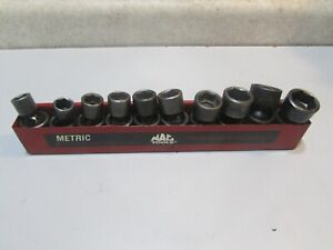 "LOT 8 MAC TOOLS METRIC 3/8"" DR SHORT 6 PT IMPACT SWIVEL SOCKET SET 10-19 MM USED"