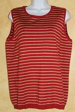 Ralph Lauren Deep Red And Gold Striped Silk Blend Shell Tank Top Sz 16