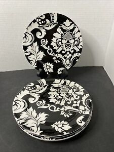 Target Home Damask Black & White Salad Plates Set Of 5Stoneware