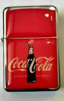 Lighter Coca Cola Silver Refillable Windproof Oil Petrol Lighter FlipTop