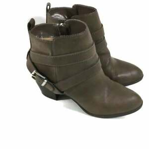 Express Ankle Boots Taupe Faux Leather Side Zip Chunky Heel Womens 8M