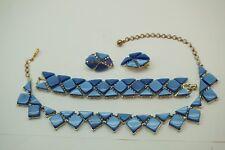 VINTAGE THERMOSET JEWELRY CHAREL DEMI PARURE NECKLACE BRACELET PRETTY BLUE 3 PC