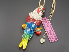 Betsey Johnson!Cute fashion inlay Crystal Parrot Pendant Necklace # A104J