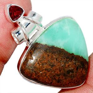 Boulder Chrysoprase & Garnet 925 Sterling Silver Pendant Jewelry AP238039