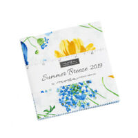"""MODA FABRIC~SUMMER BREEZE 2019~CHARM PACK~42-5"""" SQUARES~33440PP~BLUE YELLOW"""
