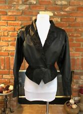 VINTAGE VTG 80s WILSONS LEATHER Black Cropped Tapered Bolero Layer Jacket*