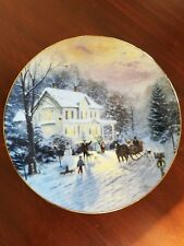 """""""Sleighride Home"""" Thomas Kinkade Home For The Holidays 8 1/2"""" Plate No 7419B"""