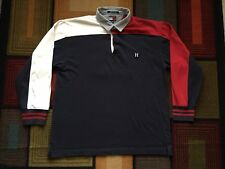 Retro Tommy Hilfiger Rugby Polo Shirt 85 Colorblock XXL Red Blue Flag Box Logo