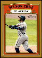 Nelson Cruz 2021 Topps Heritage In Action 5x7 Gold Minnesota Twins /10