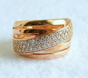 Milor Italy 925 Sterling Silver Rose Gold Vermeil CZ Sparkling Band Ring