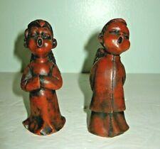 Vintage 100% Wax Angels Christmas Singing Figurines Set Of 2